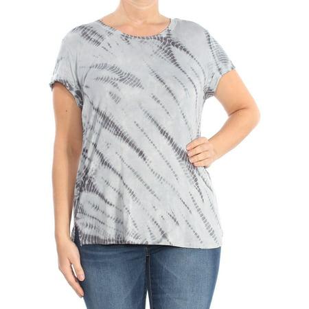 STYLE & COMPANY Womens Gray Tie Dye Short Sleeve Jewel Neck T-Shirt Top  Size: L (Jewel Styles)