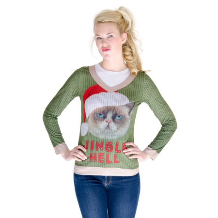 Faux Real F130562 Jingle Hell Cat Ugly Xmas Sweater Costume-XL (Ugly Cat Sweater)