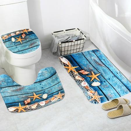 Cover Door Lid - 3pcs Bathroom Sets Anti-skid Blue Starfish Pattern Pedestal Rug + Lid Toilet Cover + Floor Carpet Bath Mat Doormat Home Decor