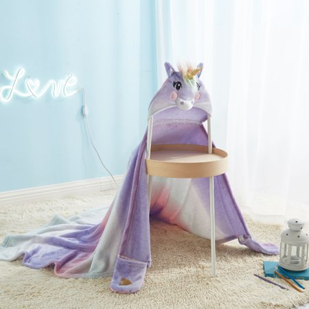 Unicorn Hooded Throw for Kids by Your Zone