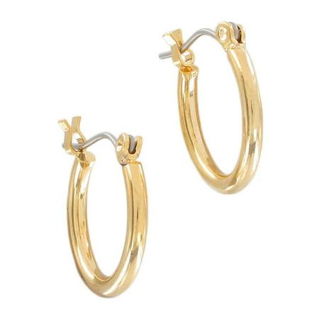 Half Hoop Post Earrings (Men's Yellow Gold Tone Pierced Hoop Earrings Surgical Steel Posts  5/8