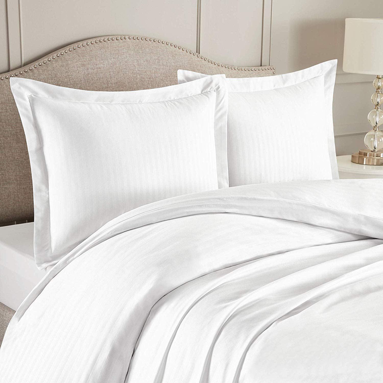 Nestl Bedding Duvet Cover 3 Piece Set Ultra Soft Double Brushed Microfiber Bedding Damask Dobby Stripe Comforter Cover And 2 Pillow Shams King Cal King 90 X 104 White Walmart Com Walmart Com