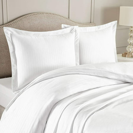 "Nestl Bedding Duvet Cover 3 Piece Set – Ultra Soft Double Brushed Microfiber Bedding – Damask Dobby Stripe Comforter Cover and 2 Pillow Shams - King/Cal King 90"" x 104"" - White"