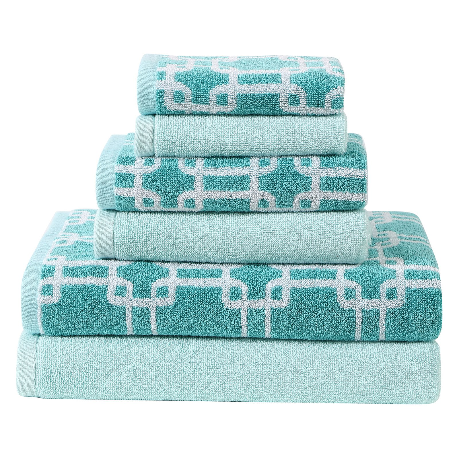 Clairebella Links 6-Piece Printed and Solid Towel Set by VCNY Home