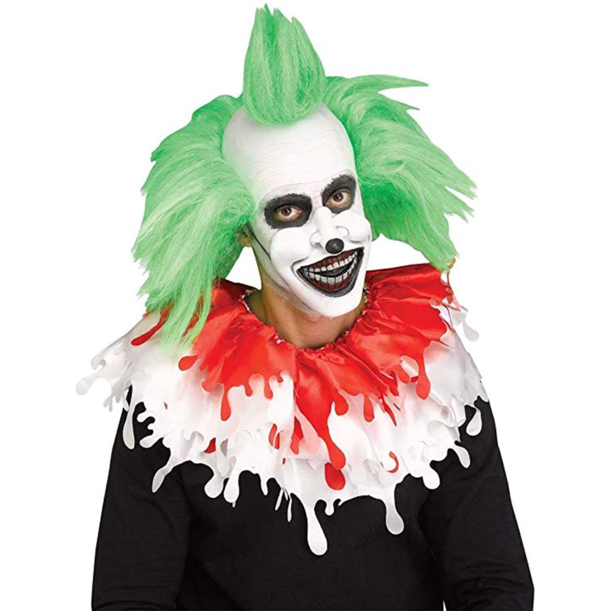 Creepy Evil Clown Half Mask Mouth Piece Vinyl Latex White Scary Black Nose Walmart Canada