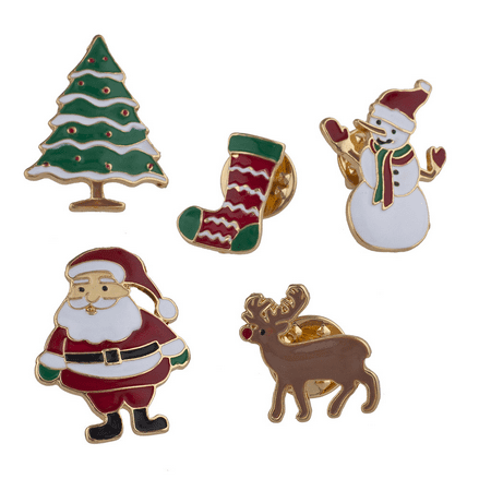 Lux Accessories Gold Tone Enamel Christmas Holiday Santa Brooch Pin Set 5PCS Enamel Wreath Pin