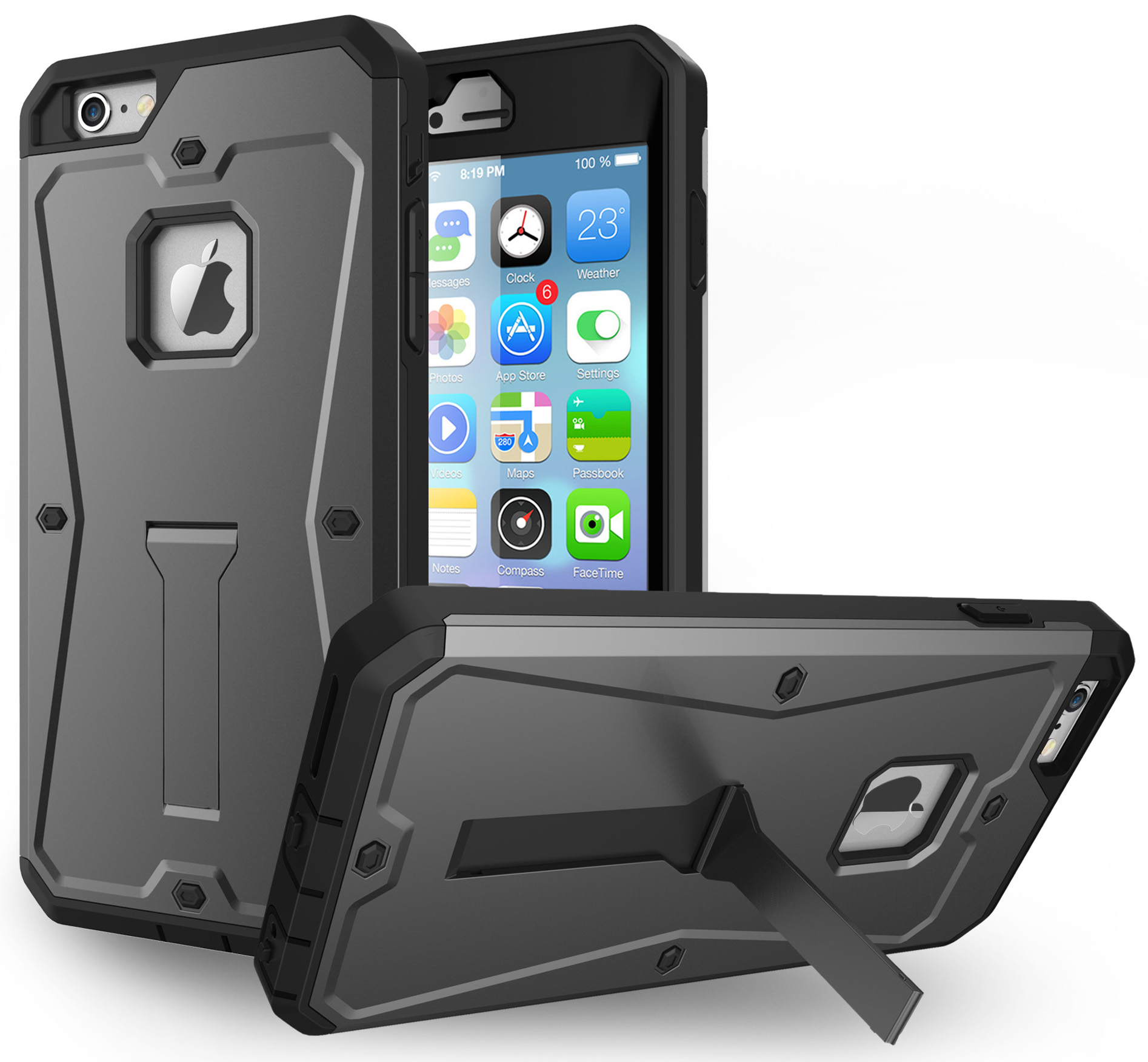 "NAKEDCELLPHONE'S GRAY RUGGED ARMOR TANK STAND CASE BUILT-IN SCREEN PROTECTOR GUARD COVER FOR APPLE iPHONE 6 (4.7"")"