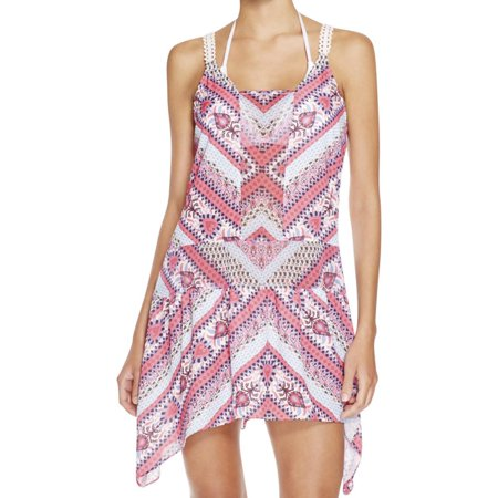 Becca Womens Swimsuit - Becca NEW Pink White Womens Size Large L Printed Cover-Up Swimwear