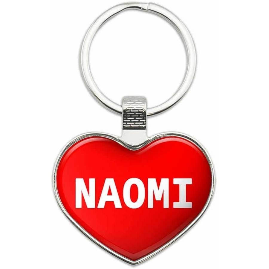 Naomi - I Love Name Metal Heart Keychain Key Chain Ring, Multiple Colors Available
