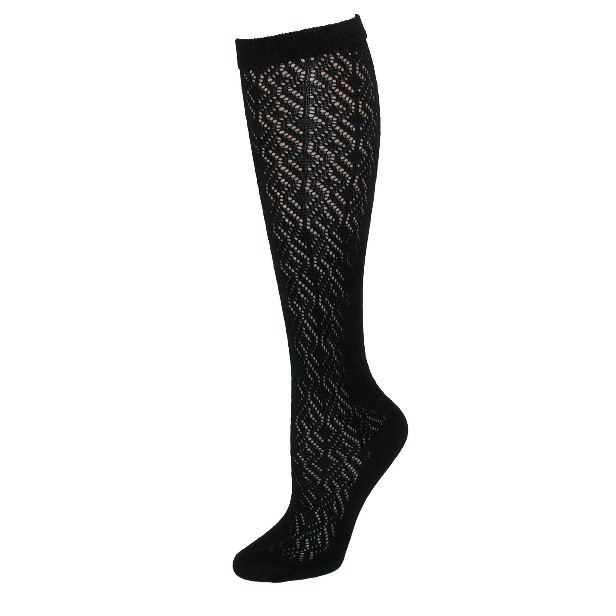 90860854b Jefferies Socks Girl s Pointelle Textured Knee Socks (2 Pair Pack ...