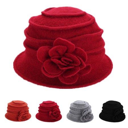 Meigar Winter Women's Fashion Flower Warm Wool Cloche Bucket Hat (Womens Kangol Cloche Hats)