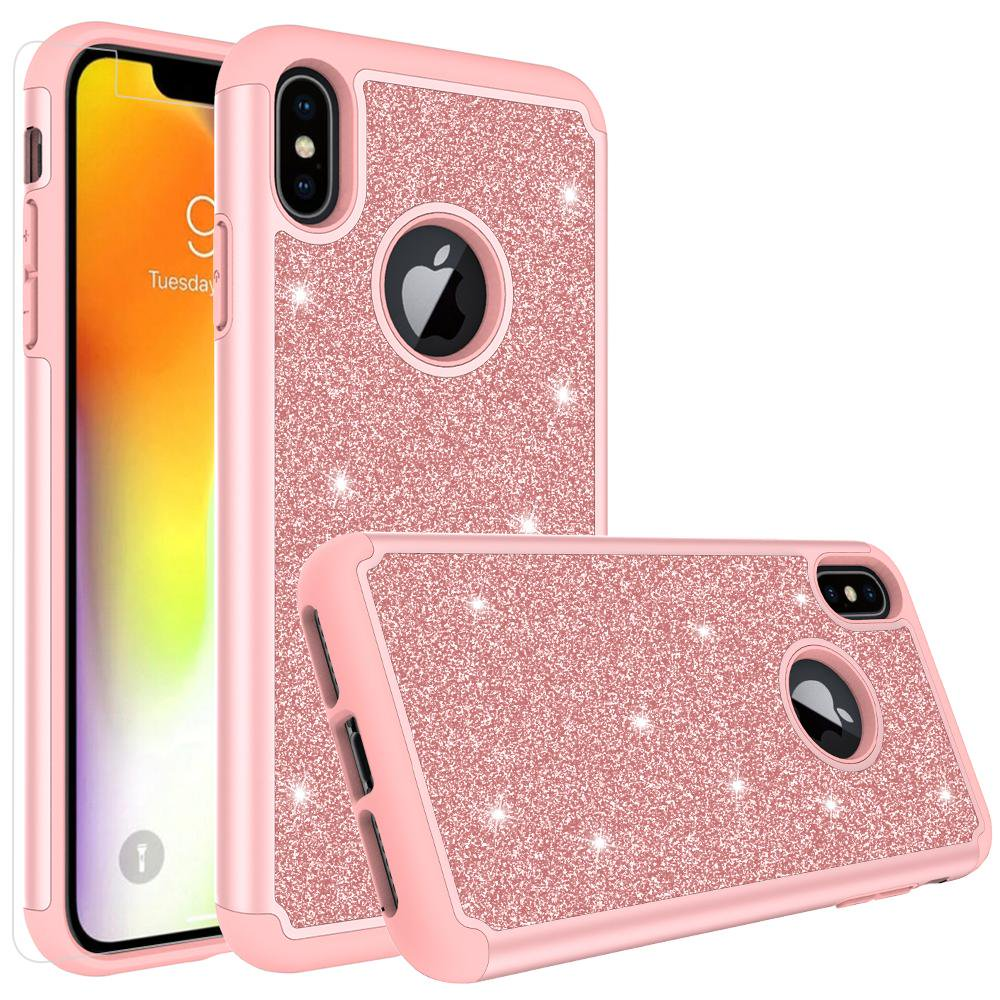 buy popular 6cac3 eaaea Apple iPhone Xs Max Case, Glitter Cute Phone Case[Screen Protector] Bling  Diamond Rhinestone Bumper Silicone Sparkly Girls Women Rose Gold