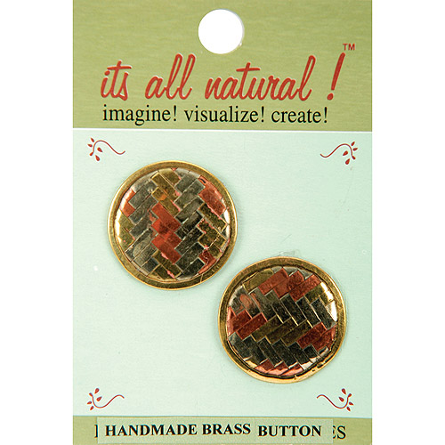 Vision Trims Handmade Brass Buttons 2/Pkg-Circle Multi-Colored