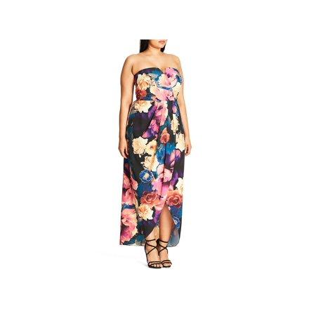 Garden Themed Dress (City Chic Womens Plus Secret Garden Floral Print Strapless Maxi)