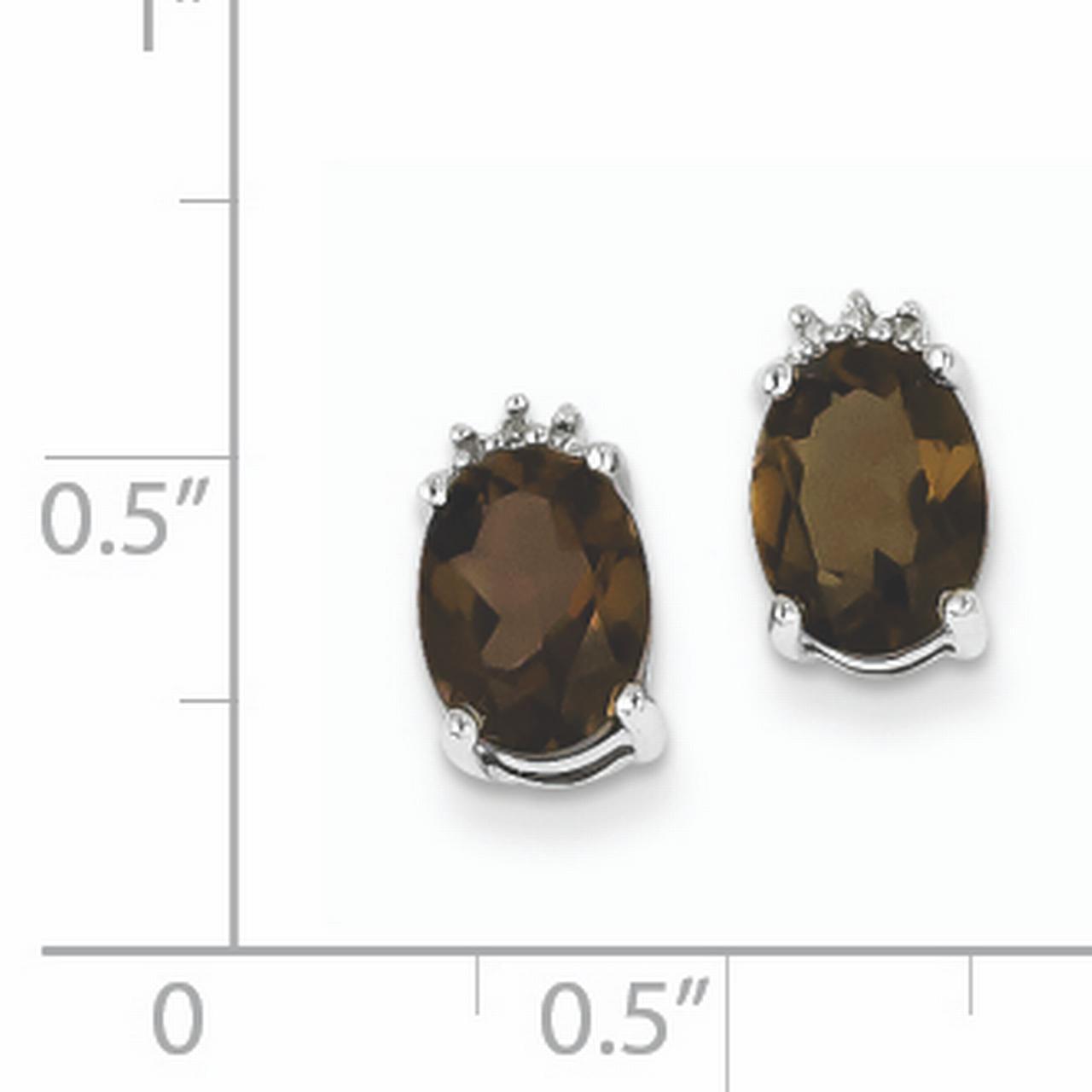 Sterling Silver Rhodium Plated Oval Smoky Quartz Diamond Post Earrings QDX656 - image 1 de 2