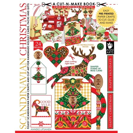 Scandinavian Christmas Cut-N-Make Book : Folksy Scandinavian Paper Crafts and Clip Art for Handmade Holiday Cards, Packs and (Scandinavian Christmas Foods)