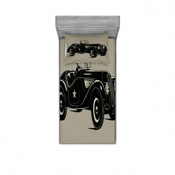 Printed Bedroom Decor 2 Shams, Old Fashioned Car Bedding