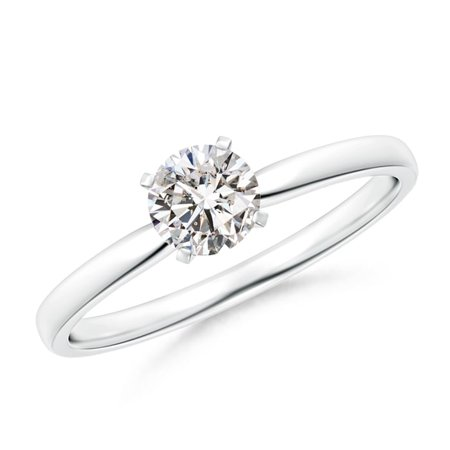 Platinum Diamond Solitaire (April Birthstone Ring - Classic Round Diamond Solitaire Ring in Platinum (5mm Diamond) - SR1506D-PT-IJI1I2-5-7)