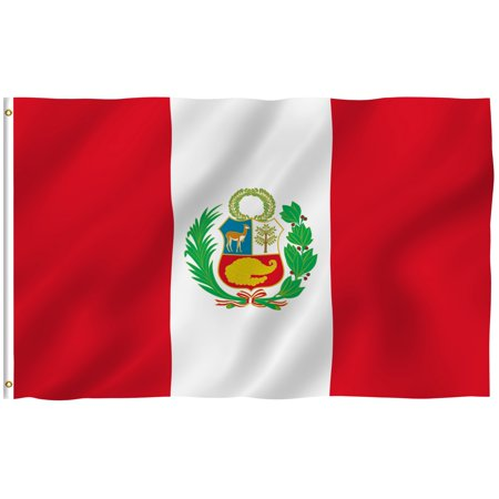 ANLEY [Fly Breeze] 3x5 Foot Peru Flag - Vivid Color and UV Fade Resistant - Canvas Header and Double Stitched - Peruvian National Flags Polyester with Brass Grommets 3 X