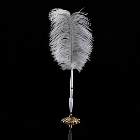 EECOO 2 Colors Ostrich Feather Wedding Quill Signing Ballpoint Writing Pen With Metal Holder New Feather Signing Pen (Wedding Pens)