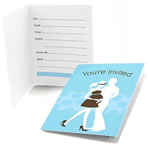 Silhouette Couples Baby Shower - It's A Boy - Fill In Baby Shower Invitations (8 count)