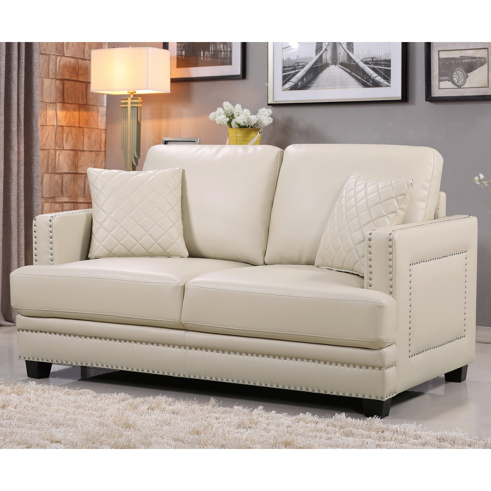 Meridian Furniture Inc Ferrara Nailhead Loveseat With Toss