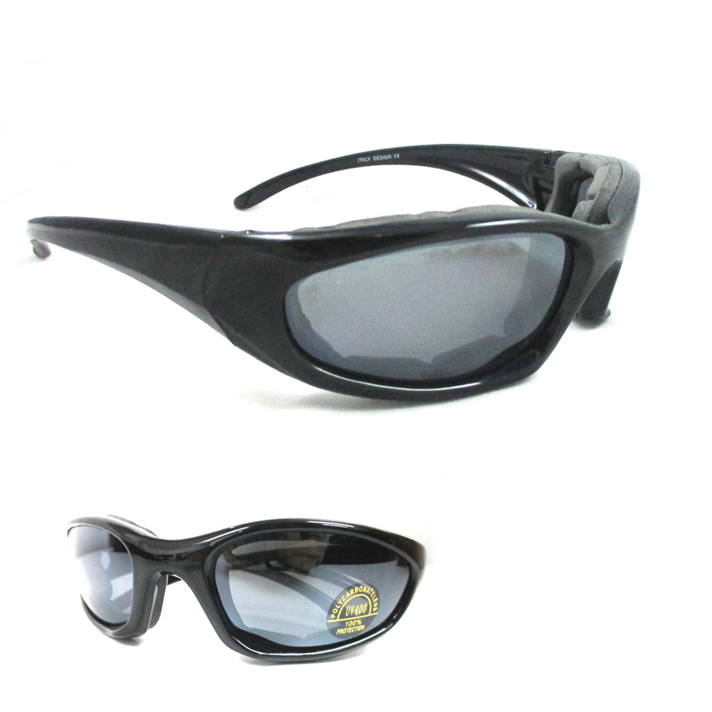 1 Wind Resistant Motorcycle Riding Sunglasses UV Day Sports Glasses Foam Padded