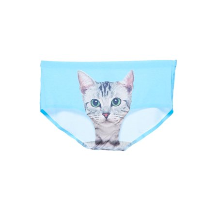 Womens Cute Comfy Fitted Cat Print Laser Cut Color Bikini Panty LAC3270-S-Lt.Blue