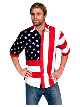 5ee9c81826e85 Product Image Scully Western Shirt Mens Flag Short Sleeve Button Front  RW029SS