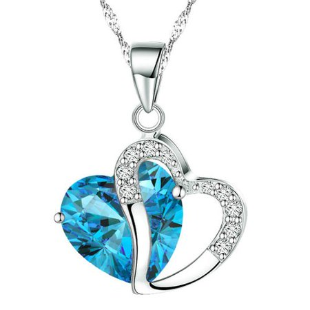 - KATGI Fashion Austrian Highland Crystal Heart Shape Pendant Necklace, 18