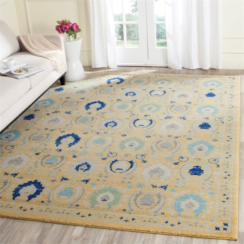 "Safavieh Evoke 6'7"" X 9' Power Loomed Rug in Gold and Ivory - image 2 de 7"