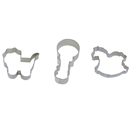 "Baby Shower Cookie Cutter Set - Baby Rattle 4"", Baby Carriage 4"", Rocking Horse 4"" - 3 Piece - Tinplated Steel - National Cake Supply"