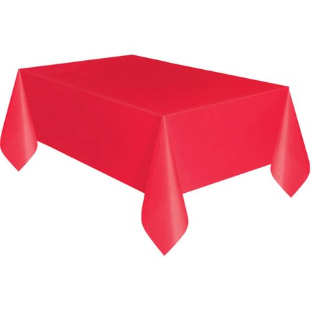 Red Plastic Party Tablecloth, 108 x 54in - Plastic Tablecloths Cheap