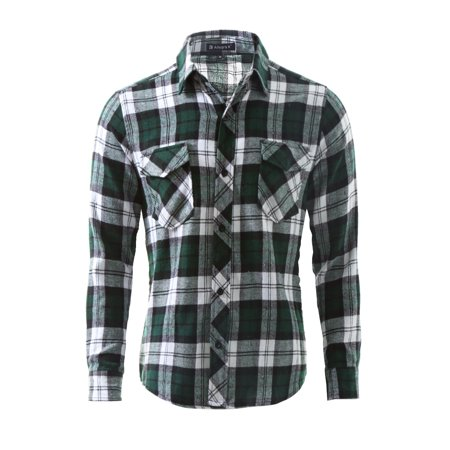 Unique Bargains Men Buttoned Plaids Flannel Shirt w Flap Pockets (Best Mens Flannel Shirts 2019)