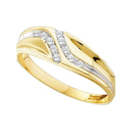 Diamond Double Row Anniversary Band (10kt Yellow Gold Mens Round Diamond Double Row Slender Wedding Band 1/8)