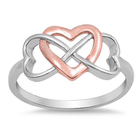 879224923a Sac Silver - CHOOSE YOUR COLOR Rose Gold-Tone Infinity Heart Promise Ring .925  Sterling Silver Band - Walmart.com