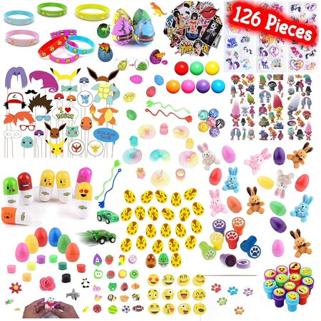 Playoly 126 Pieces Party Favor Kids Little Toys Assortment for Birthday, School, Carnival Prizes, Easter Party Packs, Goodie Bag, Stocking Stuffers and More - School Carnival Ideas