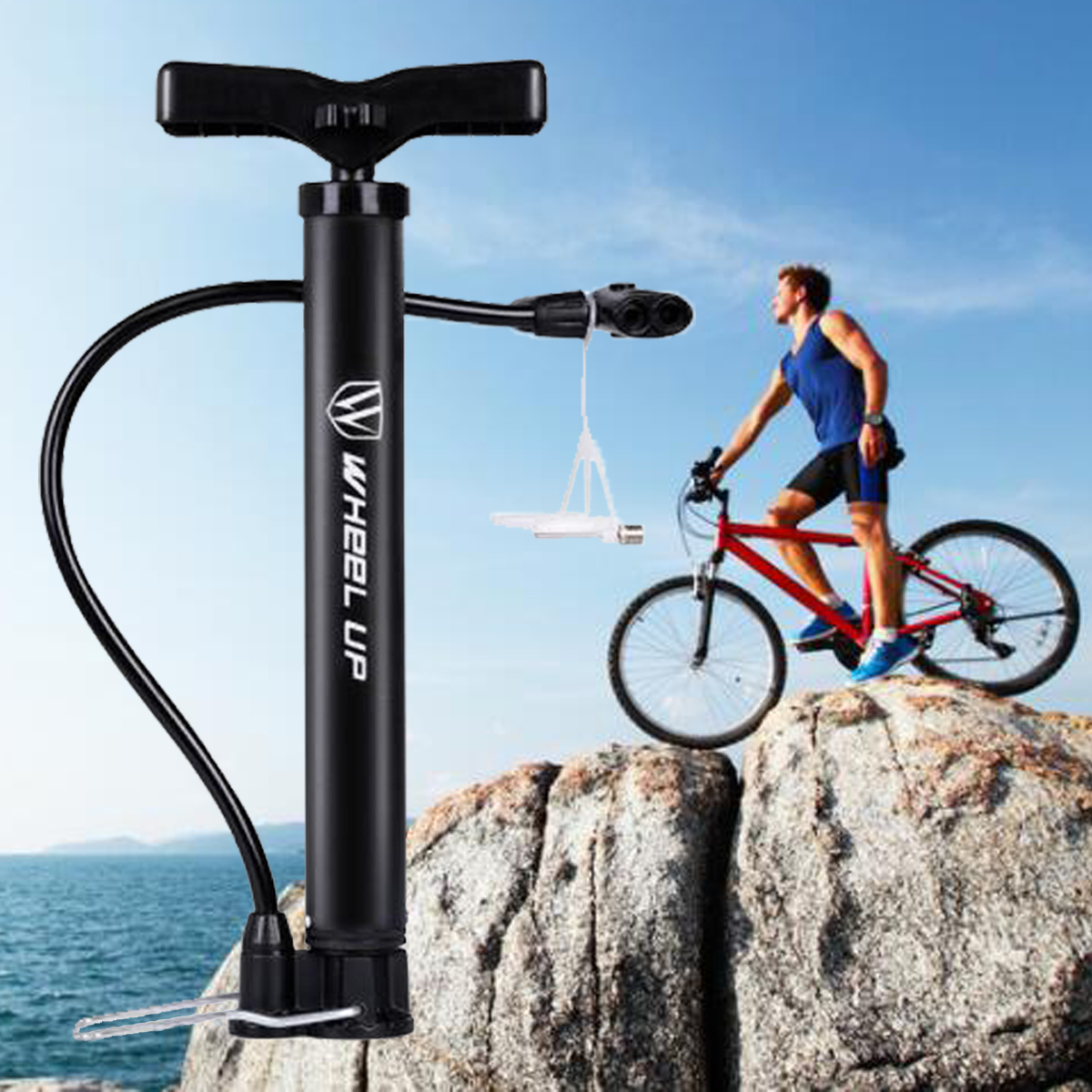 New Mini Portable Inflator Hand Pump Air Tire Cycling Bicycle Mountain Bike Tyre