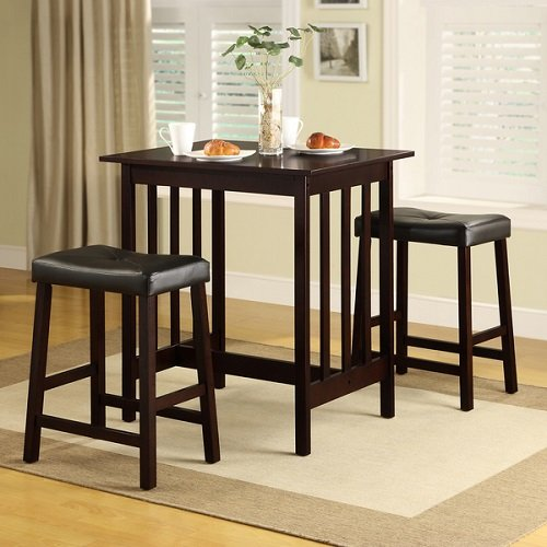 TRIBECCA HOME Nova Espresso 3 Piece Kitchen Counter Height Dining Set Table  Chair Black