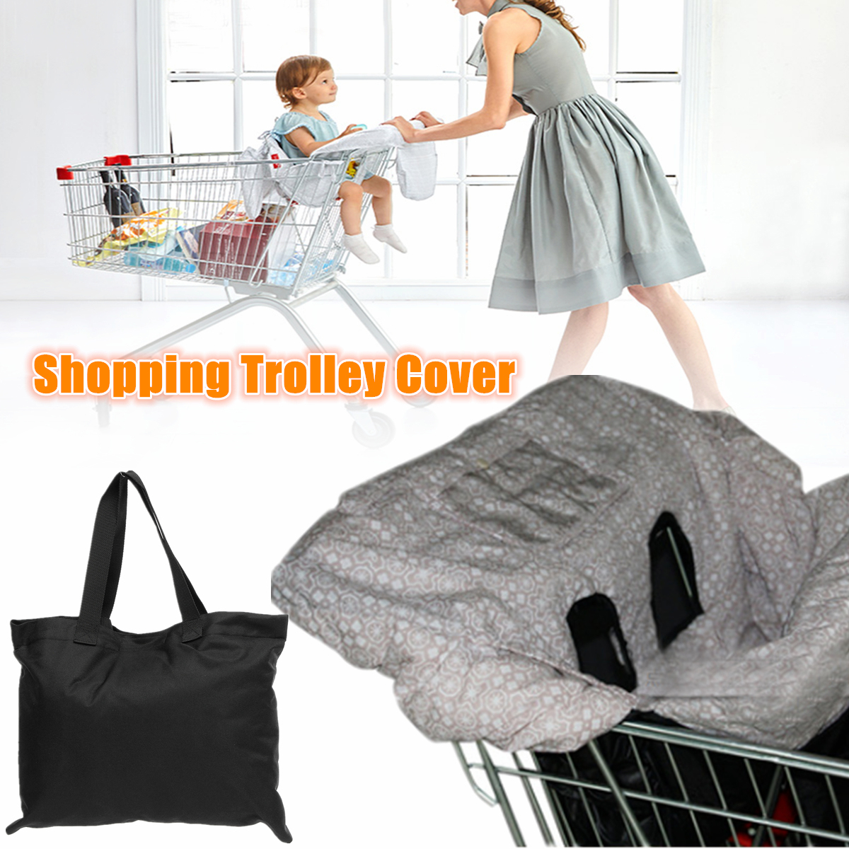 Baby Toddlers Safety Harness Gray High Chair Grocery Trolley Shopping Cart Cover