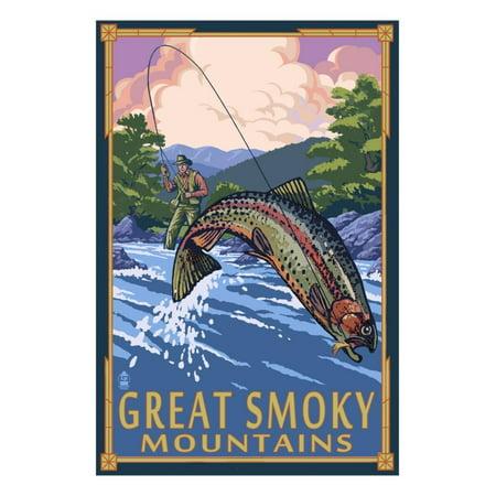 Smoky Mountain Scene (Angler Fly Fishing Scene - Great Smoky Mountains Print Wall Art By Lantern)