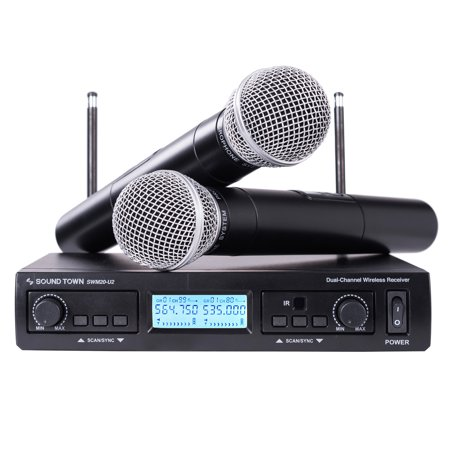 Sound Town 200-Channel Professional UHF Wireless Microphone System, for Church, Business Meeting, Outdoor Wedding and Karaoke