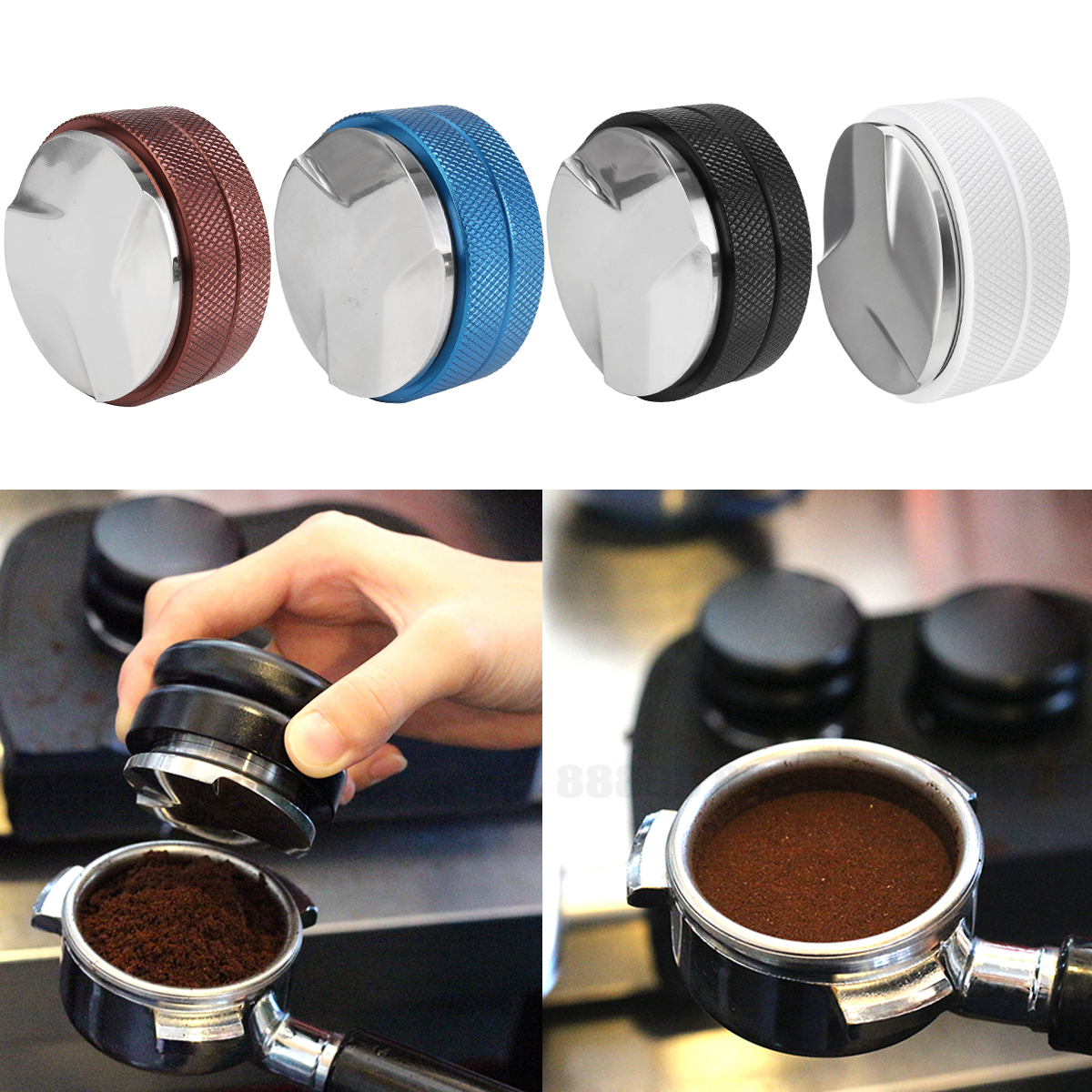 58mm Adjustable Coffee Bean Tamper Stainless Steel coffeemachine Base Three Angled Slopes Cafe