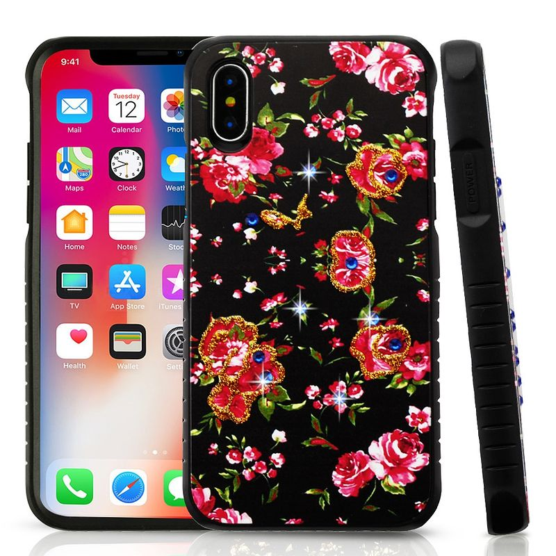 Apple iPhone X Case, by Insten Flowers Dual Layer [Shock Absorbing] Hybrid Hard Plastic/Soft TPU Rubber Case Cover With Diamond For Apple iPhone X, Multi-Color (Combo with SPrivacy SPT) - image 1 de 3