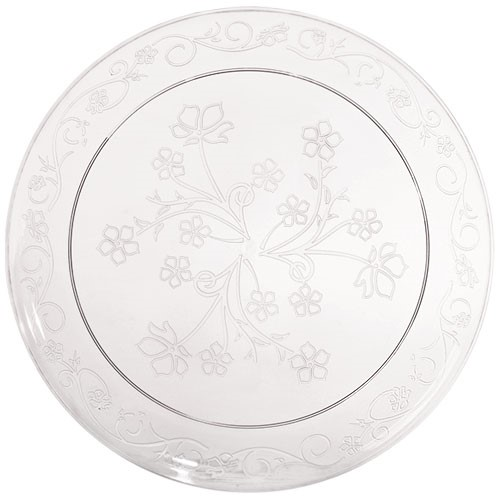 "D'Vine 10"" Clear Plastic Scroll Dinner Plates 20ct."