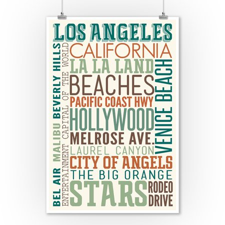 Los Angeles, California - Typography - Lantern Press Artwork (9x12 Art  Print, Wall Decor Travel Poster)