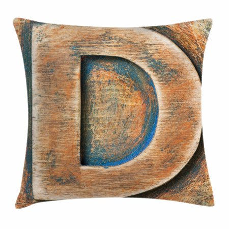 24 Character Display (Letter D Throw Pillow Cushion Cover, Scratched Wooden Timber Typography Character Rough Display Font Language, Decorative Square Accent Pillow Case, 24 X 24 Inches, Orange Blue Grey, by)