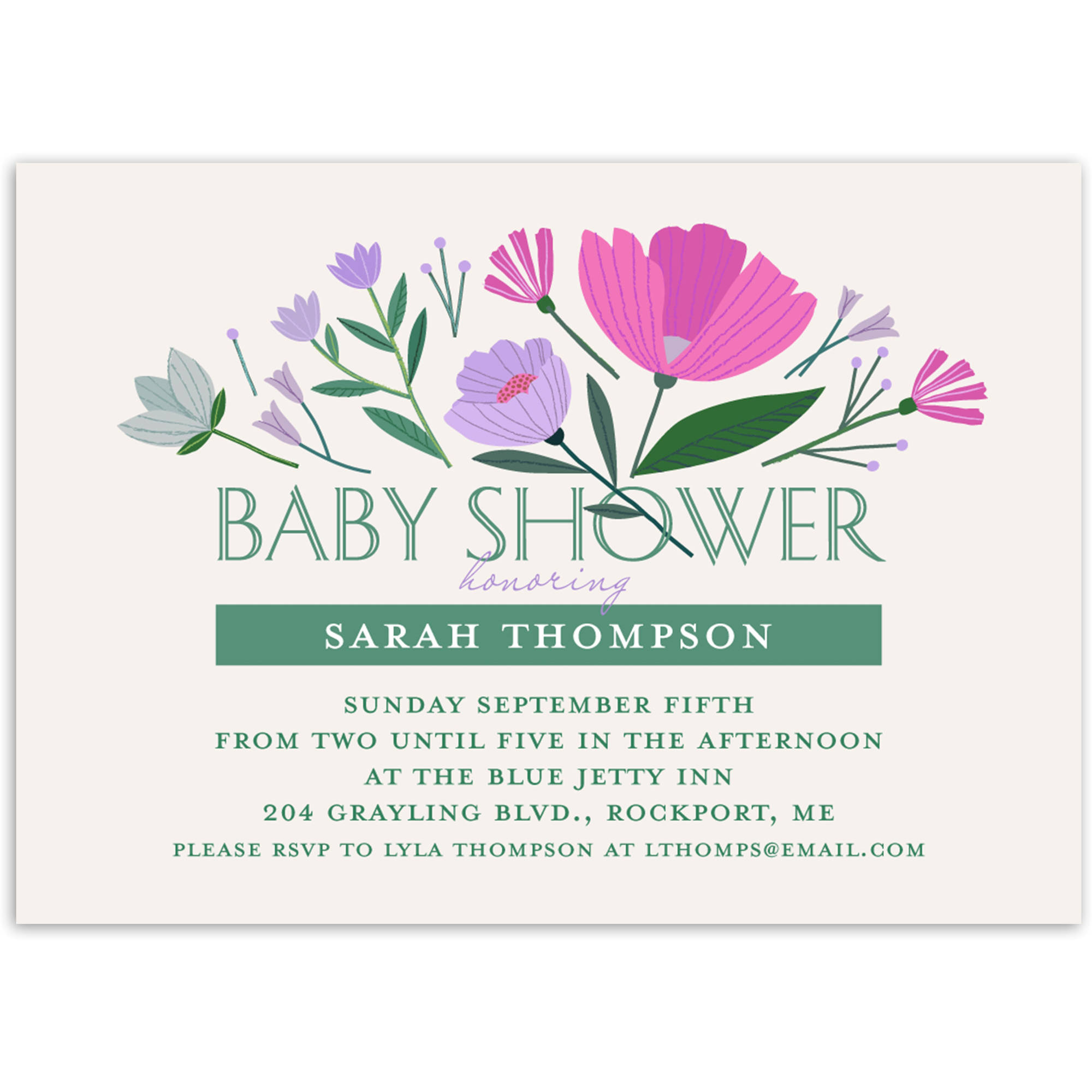 Floral Burst Baby Invitation
