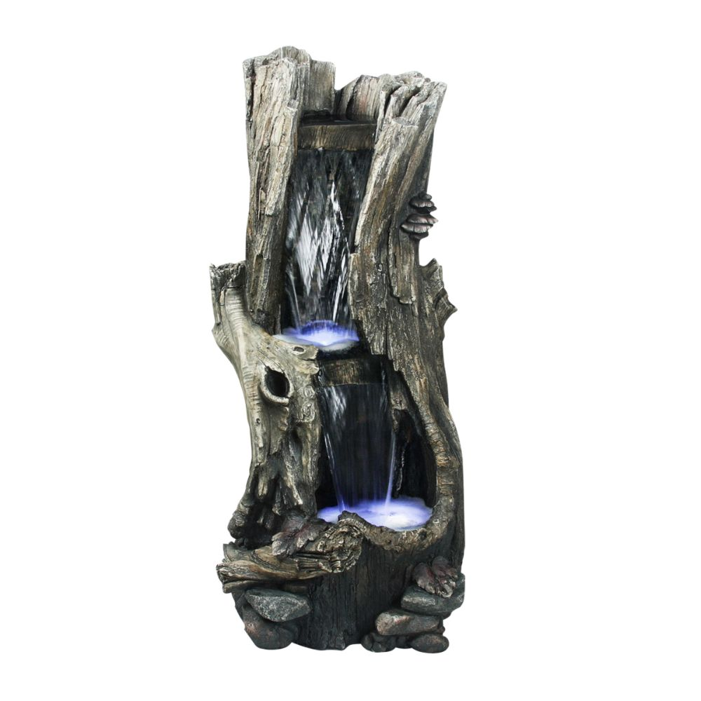 Alpine Rainforest Waterfall Tree Trunk with LED Lights, 41 Inch Tall