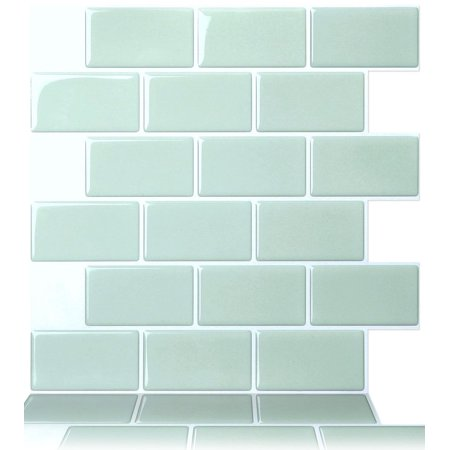 Mist Flooring (Tic Tac Tiles - Premium Anti Mold Peel and Stick Wall Tile Backsplash in Subway Mist (10-Tiles) )